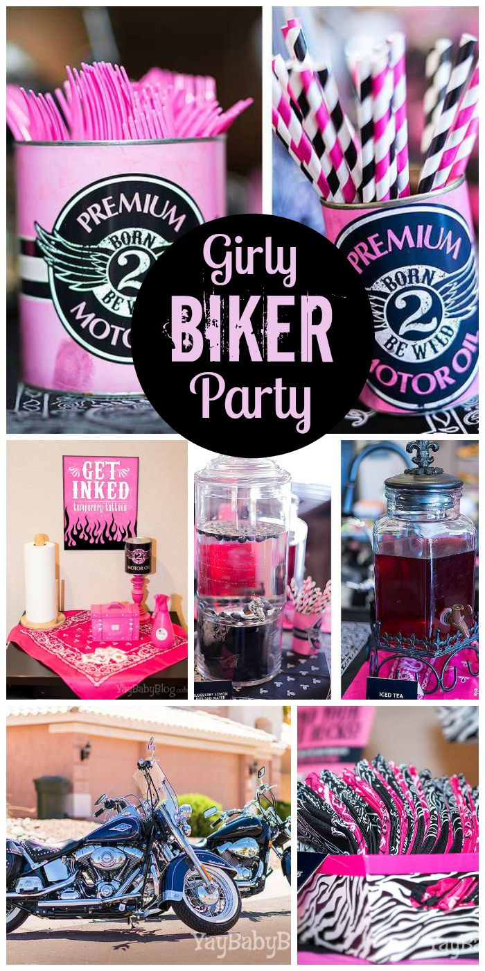 A girly biker bash with a pink, gray, black and white color palette and a temporary tattoo station! See more party planning ideas at CatchMyParty.com!