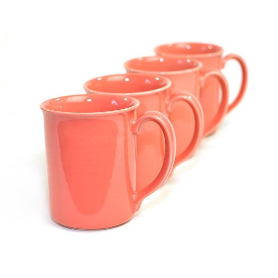 Vintage Coral Corning Coffee Cups (4): Gorgeous Peach / Pink Shade, Perfect