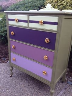 Sophisticated Junk Pile: Military Green Dresser with Purple Ombre Drawers and Gold Rose Knobs