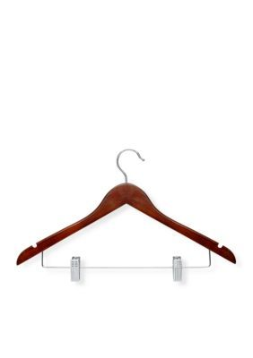 Honey-Can-Do 12-Pack Wooden Suit Hanger With Clips - Brown - One Size