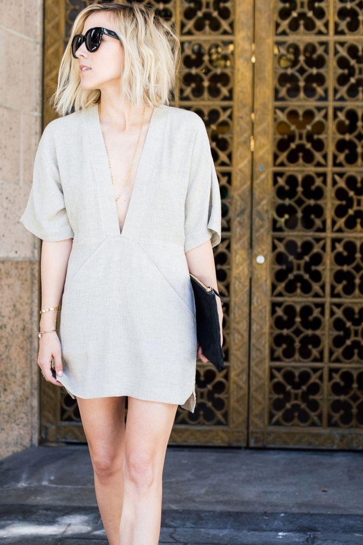 minimalista e chique low cut nude shift dress #drestfinds @drestmaker