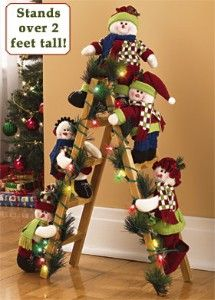 "28"" Lighted Snowmen On Ladder review at Kaboodle"