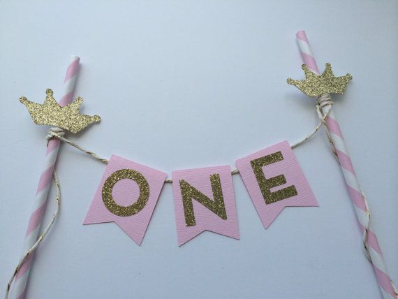 Original Pink and Gold Cake Bunting Banner by PaperTrailbyLauraB