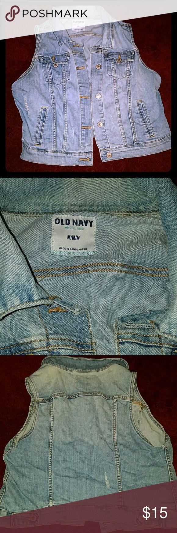 Old Navy Distressed Denim Vest Old Navy Distressed Denim Vest - Size M Excellent Used Condition Old Navy Jackets & Coats Vests