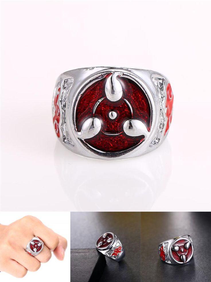 [Visit to Buy] J Store Hot Selling Anime Naruto Ring Sharingan Pattern Cosplay Jewelry for Women Men Costume Siza 9 Rings Wholesale Retail #Advertisement