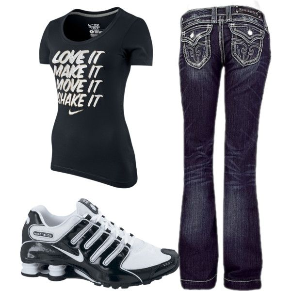"""love it, make it, move it, shake it"" nike shirt, rock revival jeans, and nike shox.."