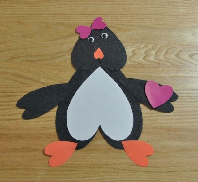Valentine S Day Heart Penguin Craft With Template