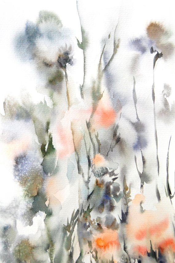 Watercolor Painting Art Print Abstract Floral Painting Intuitive Painting Orange Green