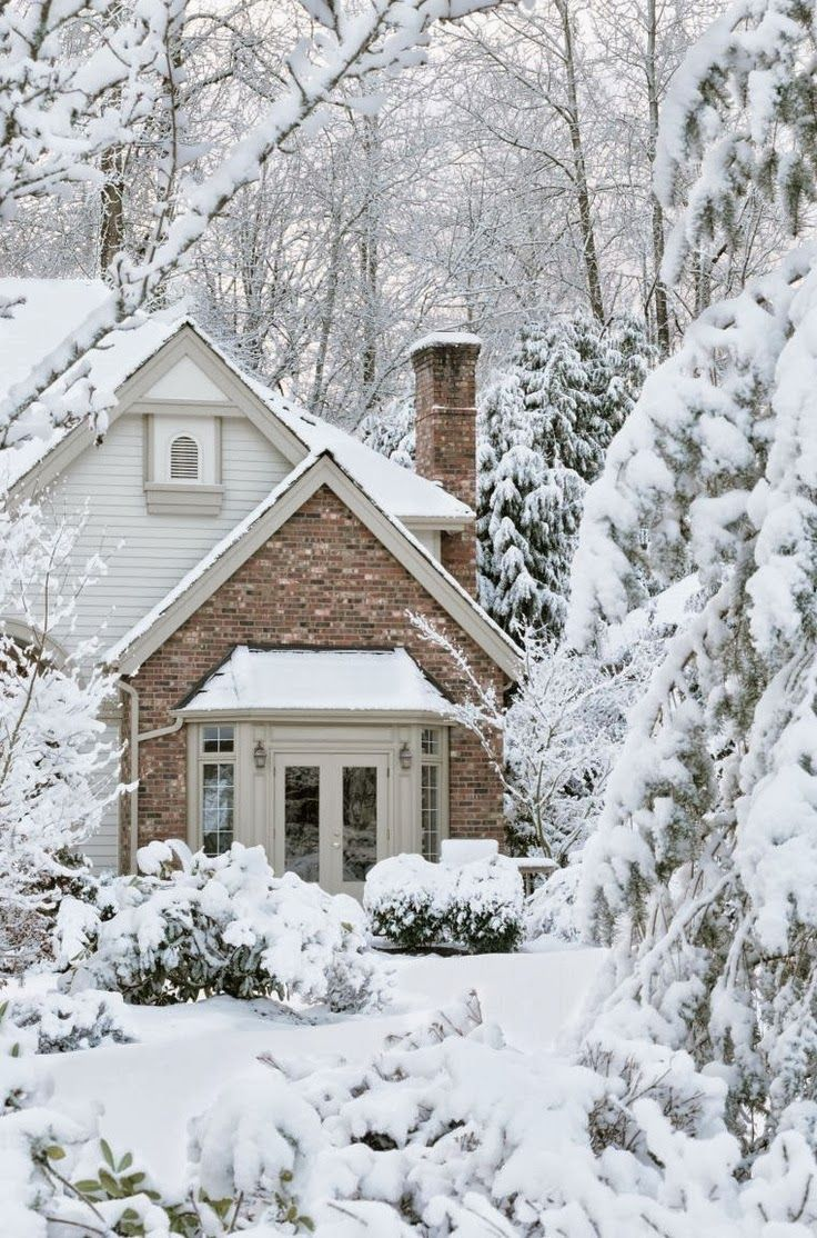 A Winter Home Nestled in The Snow: