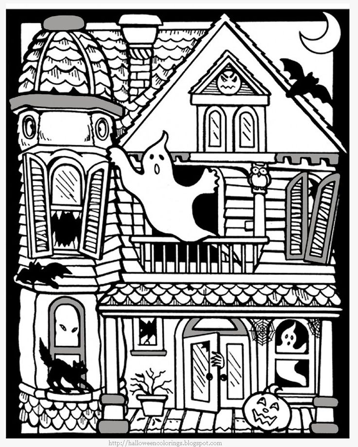 Halloween Pictures to Color Hautned Houses | ... witches coloring pages free halloween coloring pages haunted house