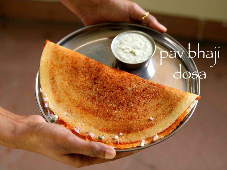 pav bhaji dosa recipe, how to make pav bhaji masala dosa with step by step photo/video. fusion of south indian dosa with mumbai street food pav bhaji recipe