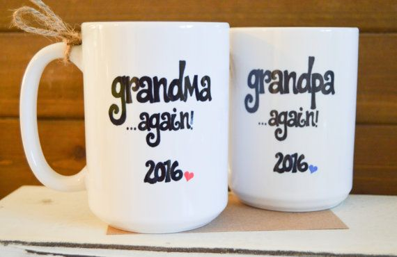Every new addition deserves an announcement, so if mom and dad are lucky enough to already be grandparents- these mugs are perfect way to let them