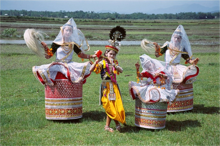 Manipuri dance - one of the major Indian classical dance forms from the state of Manipur. This dance form is one of the softest and modest, but also the most meaningful forms in the world. Manipuri dance is purely religious and its aim is a spiritual experience.    Manipuri dancers do not wear ankle bells to accentuate the beats tapped out by the feet, in contrast with other Indian dance forms, and the dancers' feet never strike the ground hard.