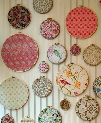 embroidery hoops of fabric samples