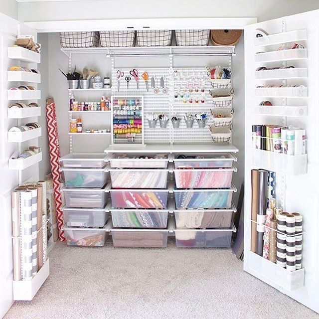 "125 Likes, 4 Comments - The Container Store (@thecontainerstore) on Instagram: ""The ultimate craft closet.  #organization #crafting #potential #craftorganization @prettypeachtree"""