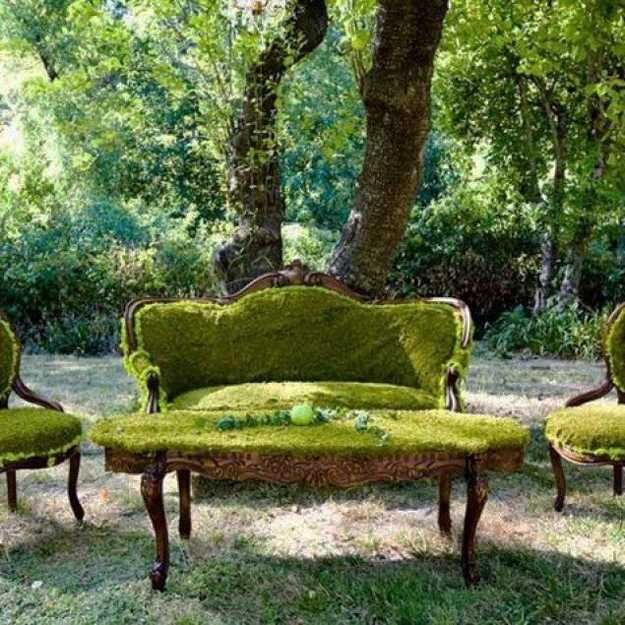 take a pretty couch/chair beyond repair and grow moss on it. Like human-sized fairy furniture!!!