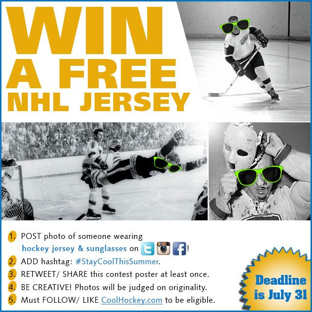 WIN A FREE #NHL JERSEY!  Rules: 1. Post a photo of someone wearing #hockey jersey & sunglasses on Twitter/ Instagram/ Facebook. 2. Add hashtag: #StayCoolThisSummer. 3. Retweet/ Share this contest poster at least once. 4. Be creative! Photos will be judged on originality. 5. Must follow/ like CoolHockey.com to be eligible.