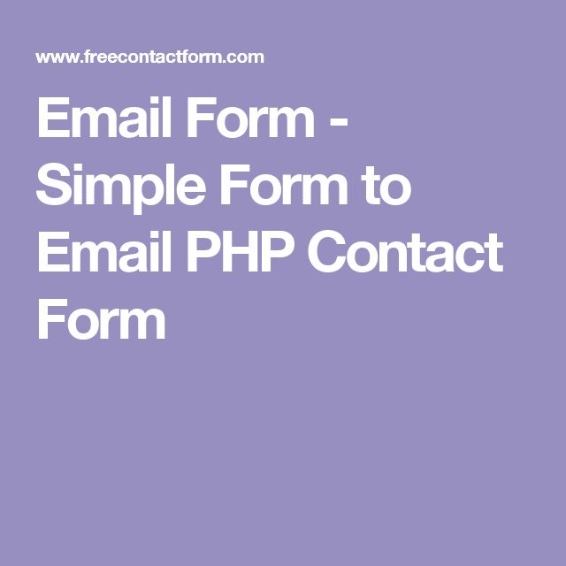 Email Form - Simple Form to Email PHP Contact Form