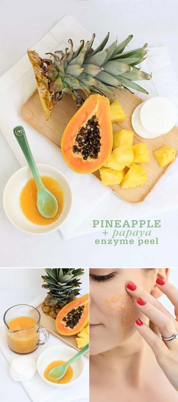 DIY Face Masks for Every Skin Problem - Pineapple Papaya Enzyme Peel - Easy Homemade Face Masks For Blackheads, For Acne, For Dry Skin and Remedies That Will Make Your Skin Glow - These Peel Ideas are Great For Teens and For Kids - Coconut Oil Recipes That Are Great For Pores and For Wrinkles - https://thegoddess.com/diy-face-masks #homemadefacemasksforblackheads #homemadefacemasksforkids