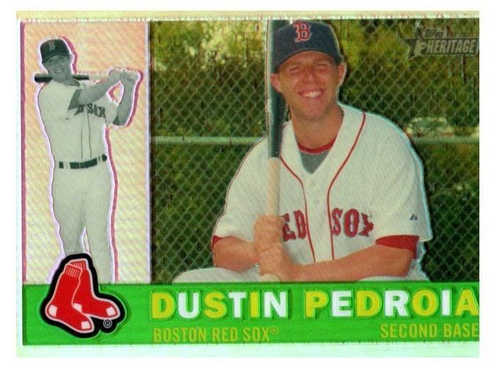 2009 Topps Heritage Chrome Dustin Pedroia Refractor #D/560 Boston Red Sox