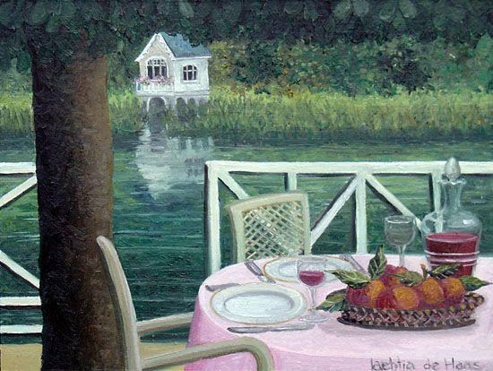 Lunch in de zomer - schilderij