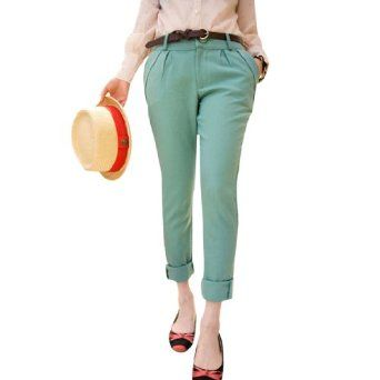 Allegra K Ladies Zip Fly Cropped Pants Mint Green XS w a Black Waist Belt Allegra K. $13.87