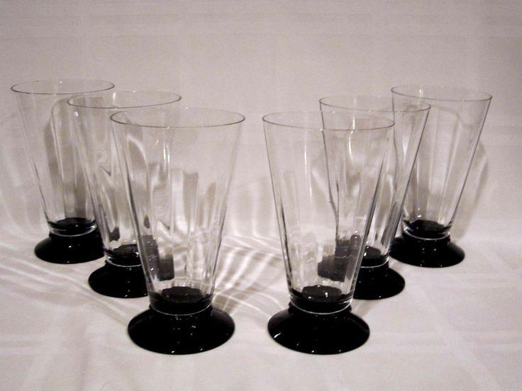 Crystal Tumblers Black Footed Base Vintage #Unbranded