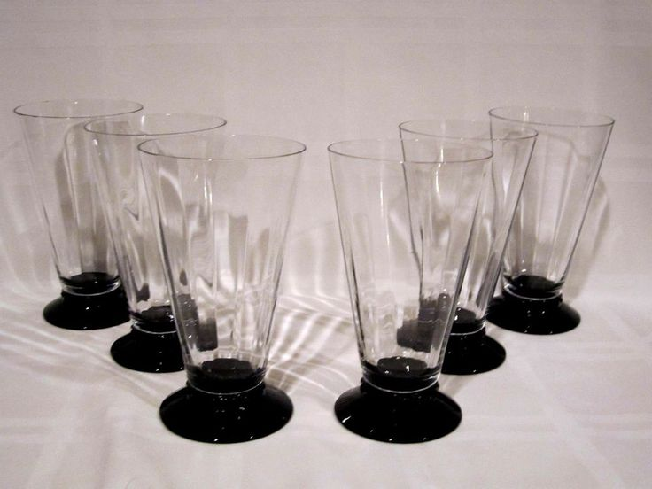 Crystal Tumblers Black Footed Base Vintage #Unbranded