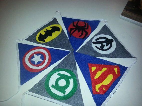Retro Superhero Comic DC Marvel Kids Party Bedroom Bunting Flag