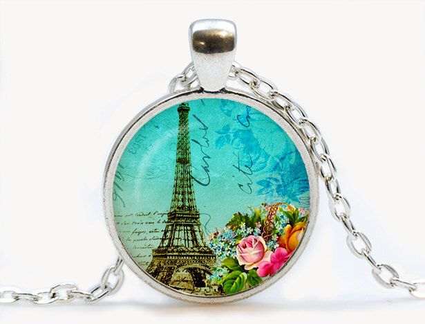 Teal Paris Collage Glass pendant. Vintage Eiffel Tower Necklace. Paris jewelry. Birthday gift by luckyjewelry3 on Etsy https://www.etsy.com/listing/199102448/teal-paris-collage-glass-pendant-vintage
