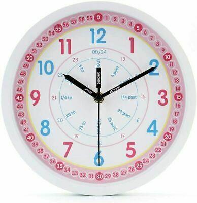Jomparis Kids Wall Clock Learning Time Wall Clock Educational Teaching Clock 10 In 2020 Kids Wall Clock Teaching Clock Wall Clock