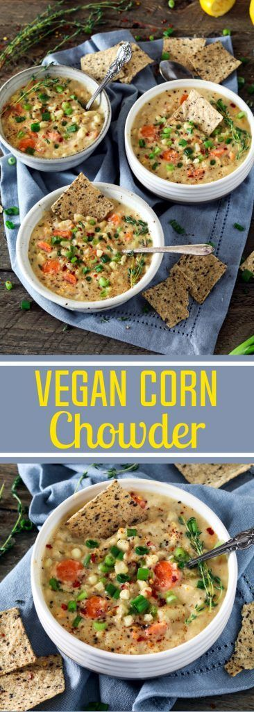 Brighten up your summer with this Vegan Corn Chowder. It's super creamy, flavor-packed & satisfying. You'll get a taste of fresh sweet corn in every bite! Creamy Vegan Corn Chowder - http://veganhuggs.com/vegan-corn-chowder/