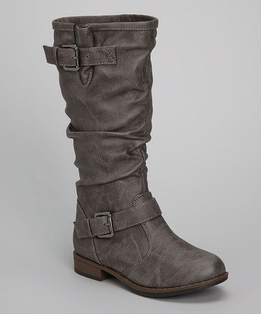 Gray Minion Buckle Boot by Bamboo #zulilyfinds