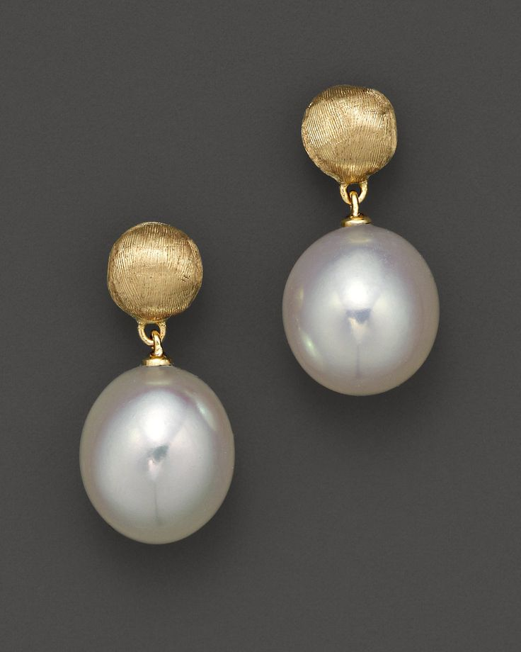 """Marco Bicego """"Africa Pearl Collection"""" 18K Yellow Gold and Pearl Drop Earrings 