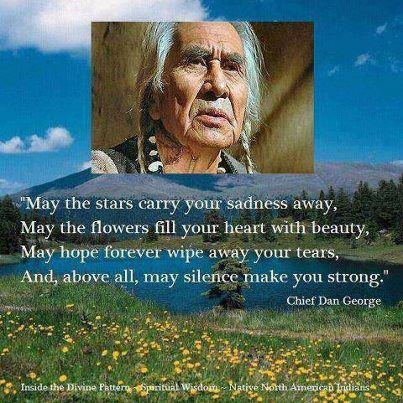 """May the stars carry your sadness away, may the flowers fill your heart with beauty, may hope forever wipe away your tears, and, above all, may silence make you strong"" Chief Dan George"