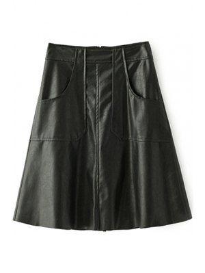 Кожа PU сгущает всю спицу сплошной цвет Зимняя юбка - черный L