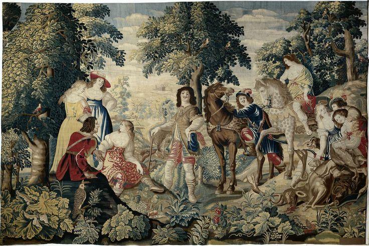 Maximiliaan van der Gucht | Rust in het bos, Maximiliaan van der Gucht, Christiaen Gillisz. van Couwenberg, Simon de Vlieger, c. 1650 | Wandtapijt met jachtgezelschap met buit. Links een groep van vier personen: drie vrouwen, resp. gekleed in geel, blauw en gebloemd rood en een man in rode kleding. In het midden staat een jager, met een reiger omhangen; voorts een omziend paard met een man die juist uit de stijgbeugel stapt, gevolgd door een appelschimmel met amazone, komend van een hoge…