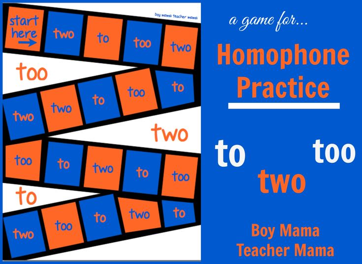 Homophone Practice To Too Two My students are having a hard time with the homophones to, too and two. While not unexpected in first grade, we are working on it. I always find that a game is a great…