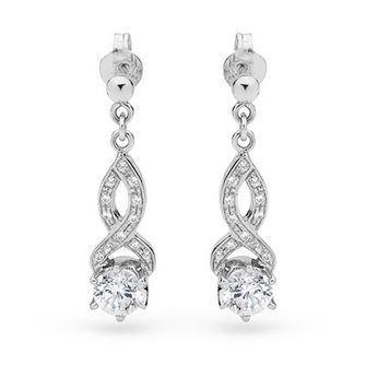 Cubic Zirconia Dress Earrings - Silver - BEE-35417-CZ