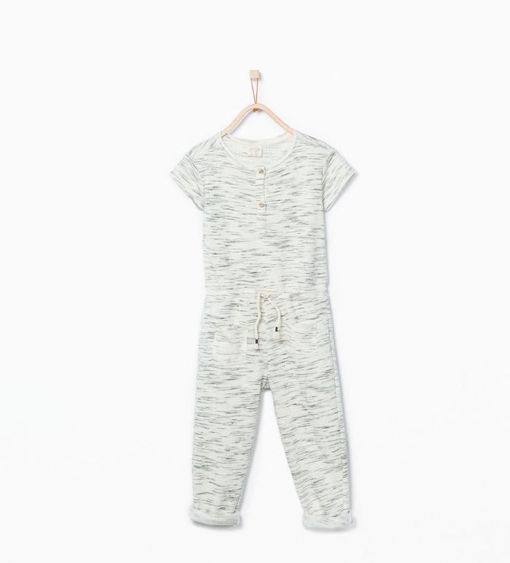 Image 1 of Long flecked jumpsuit with pockets from Zara