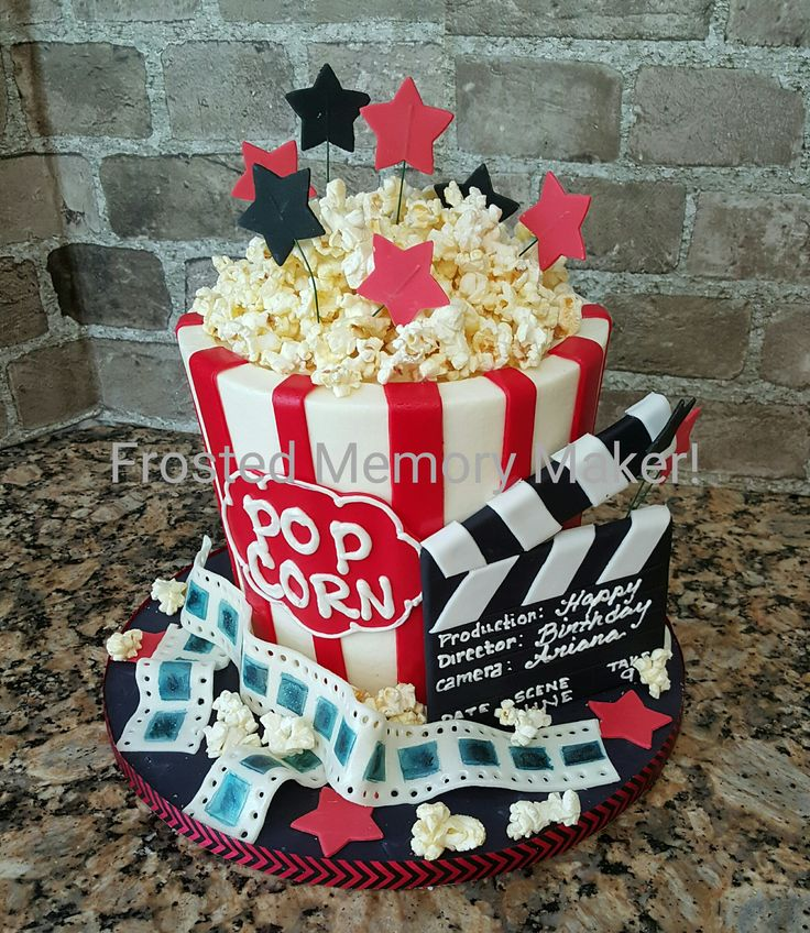 Popcorn and movies themed cake