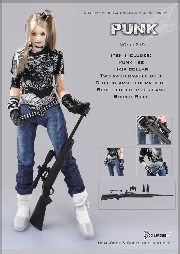X63-03 1/6 Scale DOLLSFIGURE Female PUNK Sniper Suit Set CC219 picclick.com