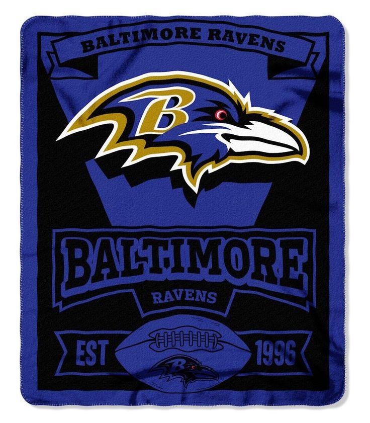 Baltimore Ravens Blanket 50x60 Fleece Marque Design Nfl