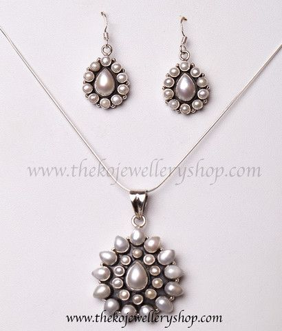 925 sterling silver pearl pendant set for women #PearlJewellery #PearlPendant#SilverJewellery