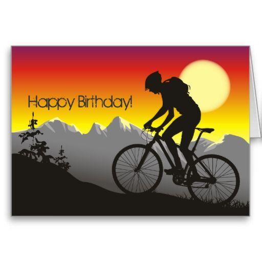Silhouette Mountain Bike Happy Birthday Card Zazzle Com Happy Birthday Cards Happy Birthday