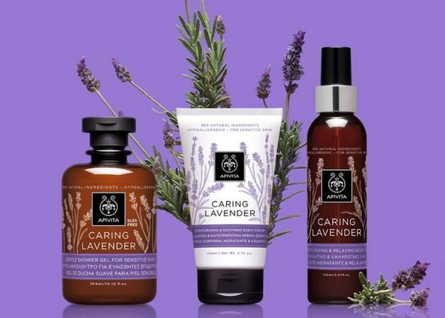 CARING LAVENDER The new natural & effective CARING LAVENDER line moisturizes the sensitive and dry, dehydrated skin, offering immediate relief from the feeling of burning and stinging sensation. It is rich in soothing, moisturizing and softening active ingredients, which are supported by clinical studies.