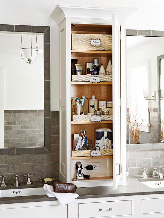 Extend your cabinetry from the vanity countertop to the ceiling to capture vertical storage space. This above-counter unit provides shelving for a cache of cosmetics and other bathroom necessities. The lowest shelf includes a concealed electrical outlet.