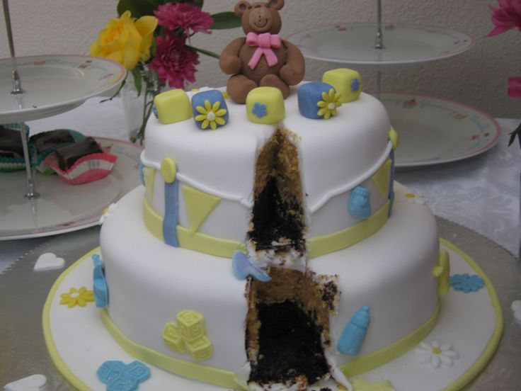 Baby shower cake -Gina was delighted by the 2 layers of cake butterscotch and chocolate www.frescofoods.co.nz