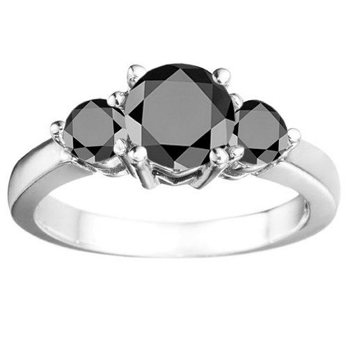 Traditional Three Stone Prong Set 1.75ct Black Cubic Zirconia with a 1ct RD Center Sterling Silver Wedding Anniversary Ring