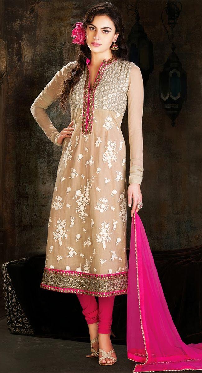 Beige & Pink Churidar Suit by Kolkozy.com